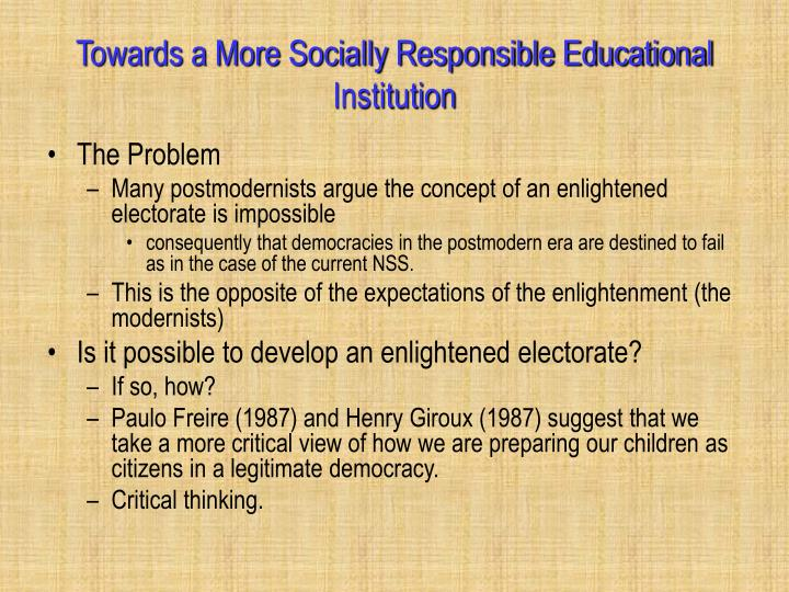 Towards a More Socially Responsible Educational Institution