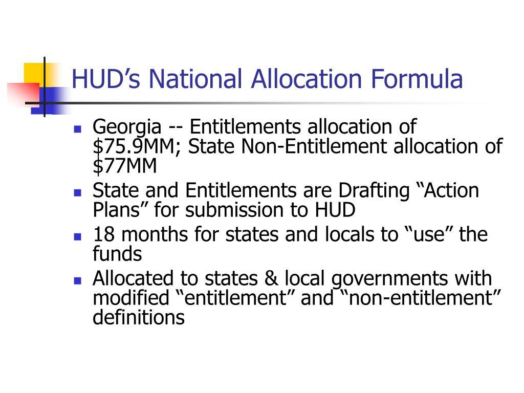 HUD's National Allocation Formula