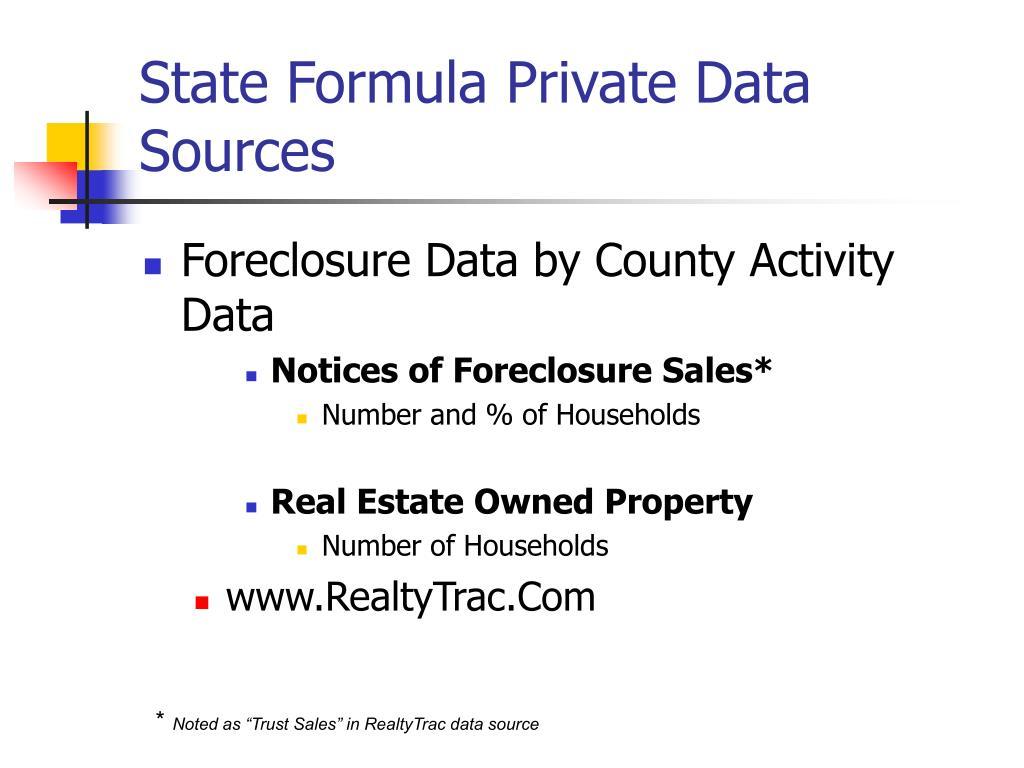 State Formula Private Data Sources