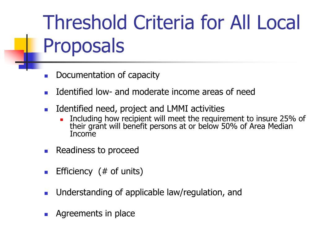 Threshold Criteria for All Local Proposals