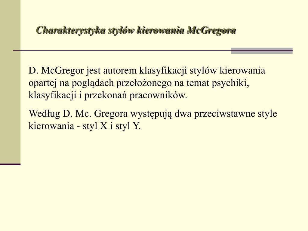 Charakterystyka stylów kierowania McGregora