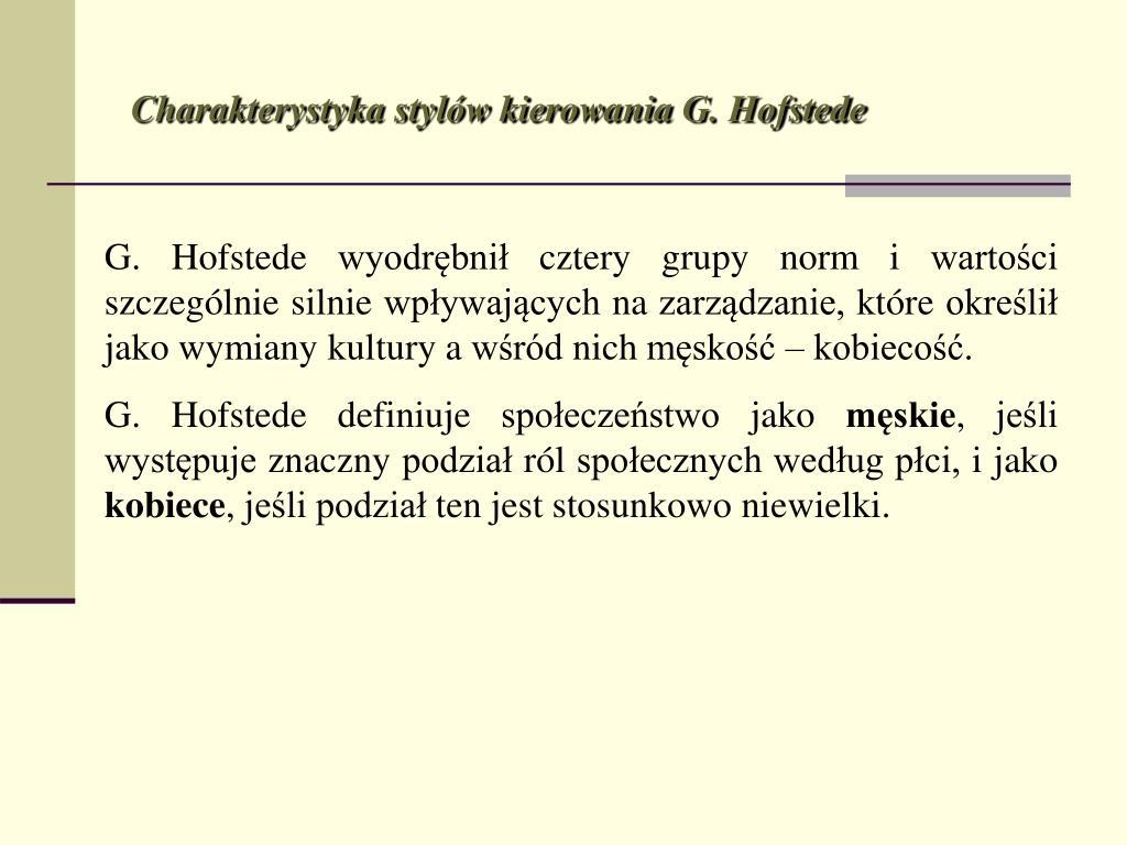 Charakterystyka stylów kierowania G. Hofstede