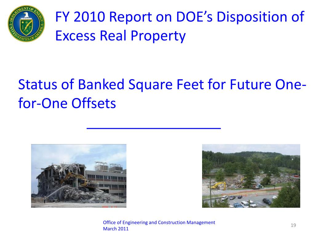 FY 2010 Report on DOE's Disposition of Excess Real Property