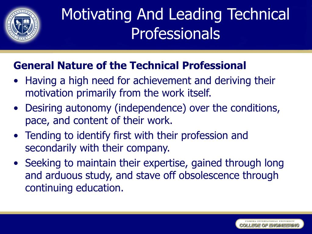 Motivating And Leading Technical Professionals