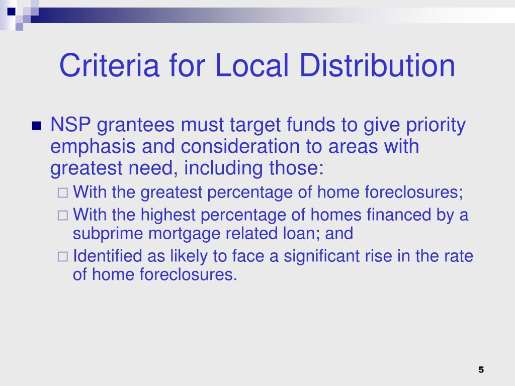 Criteria for Local Distribution
