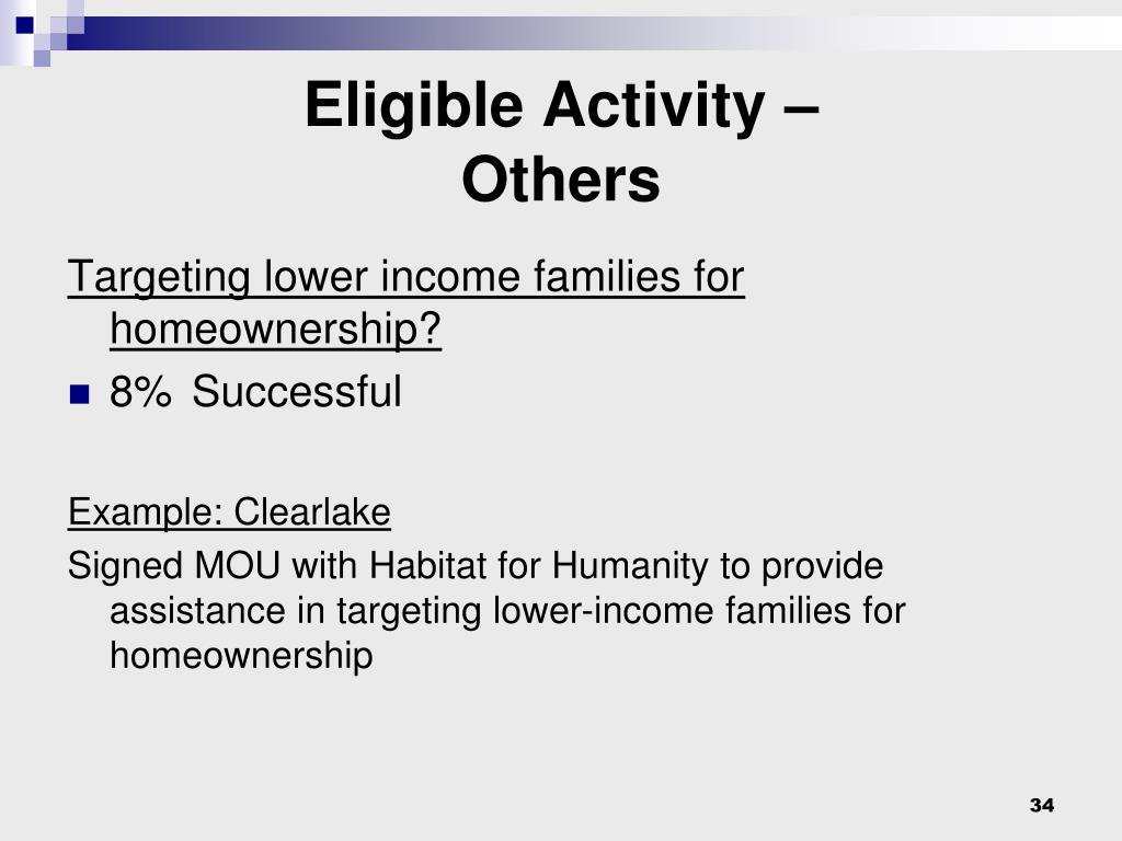 Eligible Activity –