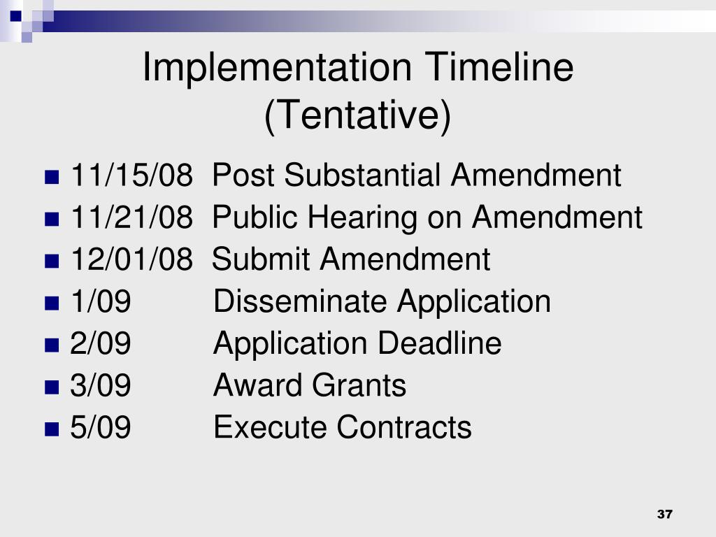Implementation Timeline (Tentative)