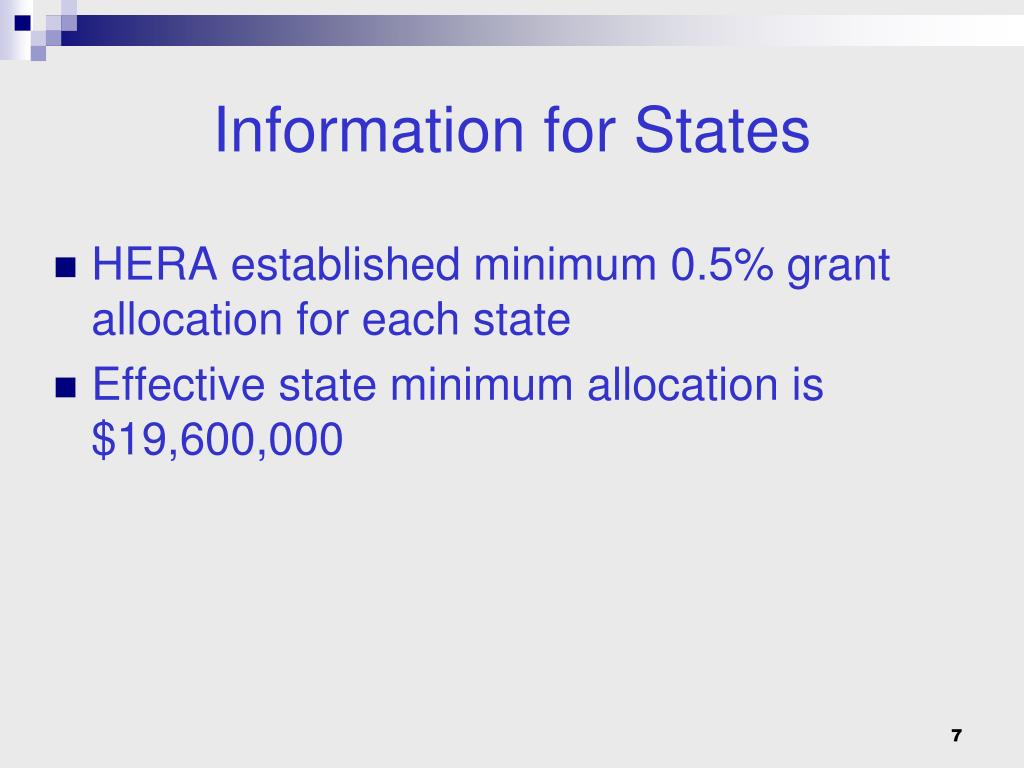 HERA established minimum 0.5% grant allocation for each state