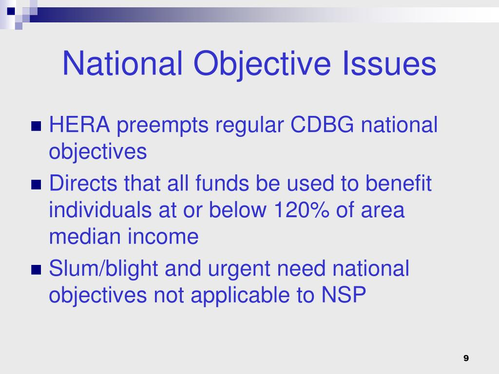 National Objective Issues
