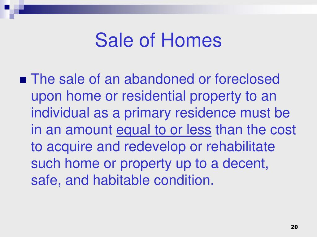 Sale of Homes