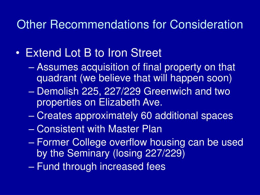 Other Recommendations for Consideration