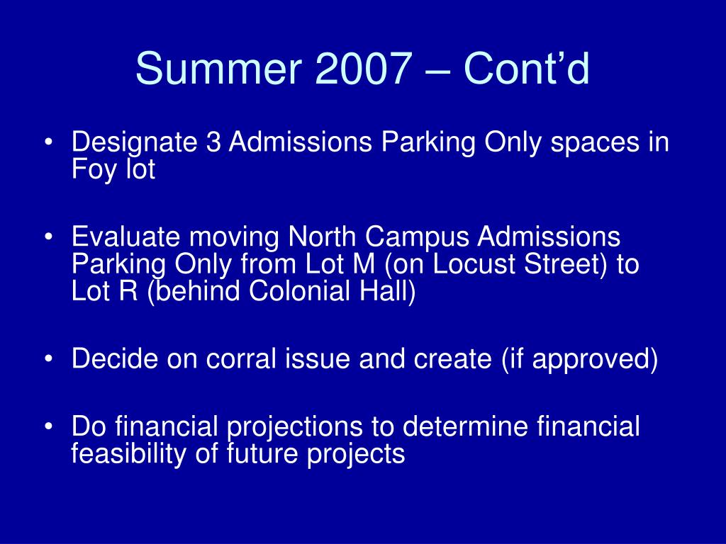 Summer 2007 – Cont'd
