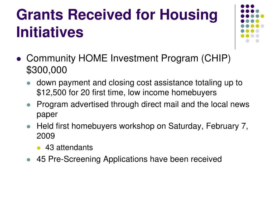Grants Received for Housing Initiatives