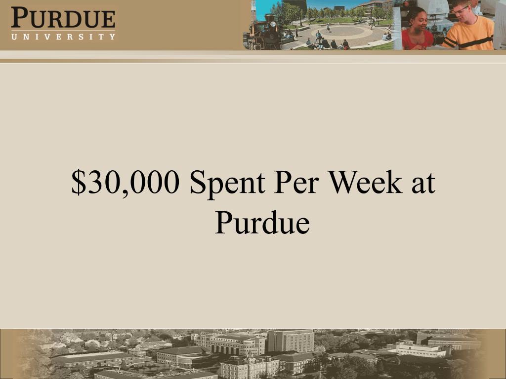 $30,000 Spent Per Week at Purdue