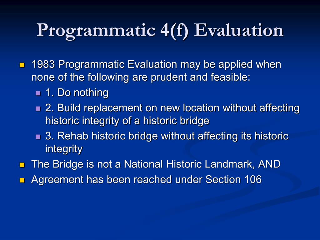 Programmatic 4(f) Evaluation