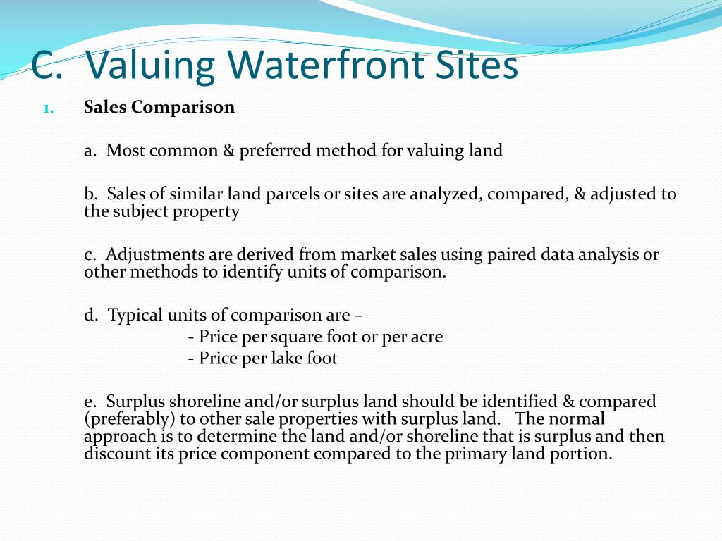 C.  Valuing Waterfront Sites