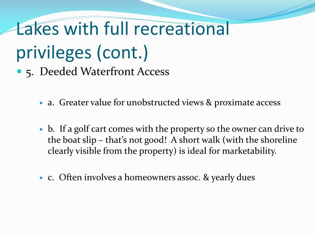 Lakes with full recreational privileges (cont.)