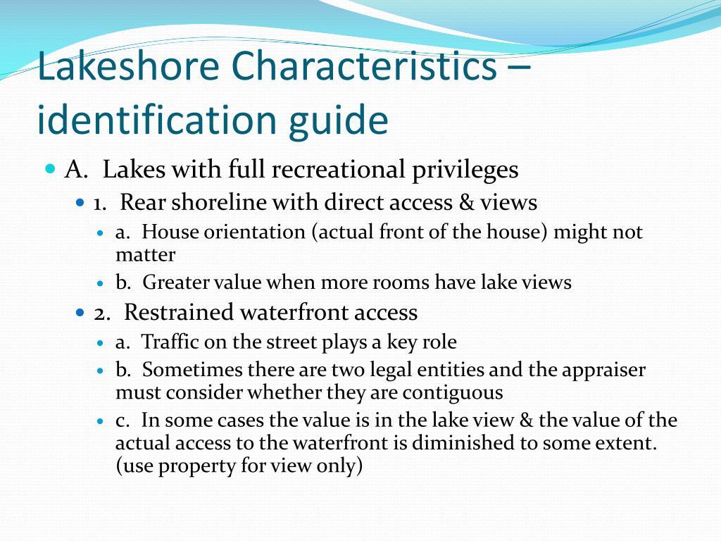 Lakeshore Characteristics – identification guide