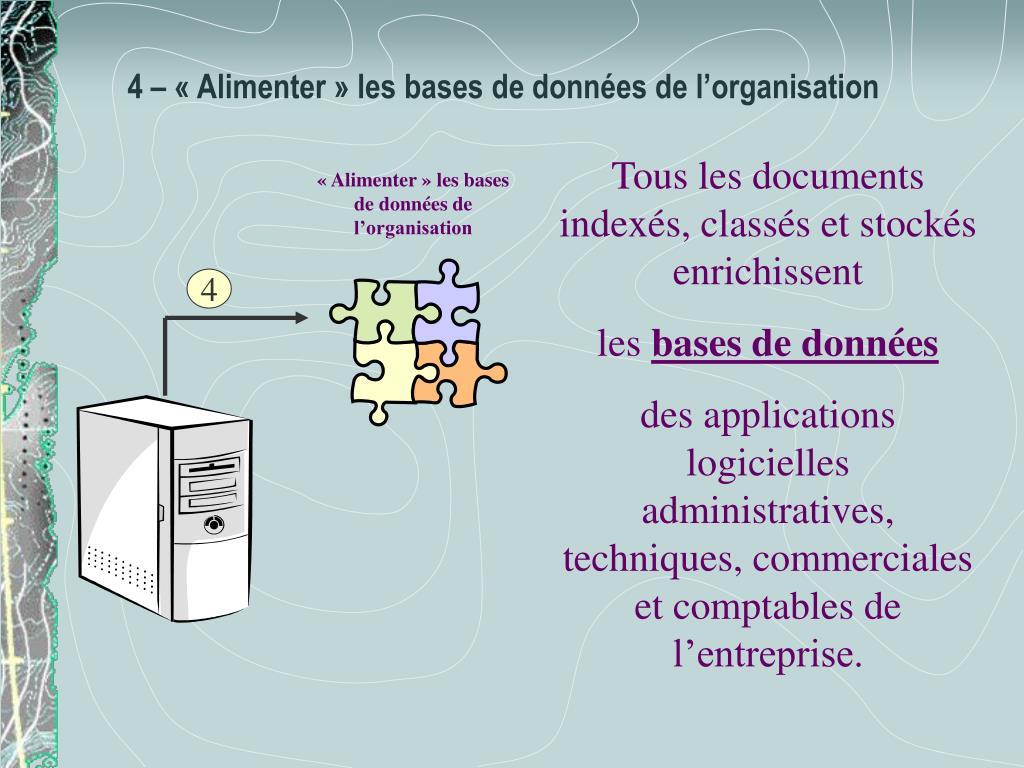 «Alimenter» les bases de données de l'organisation