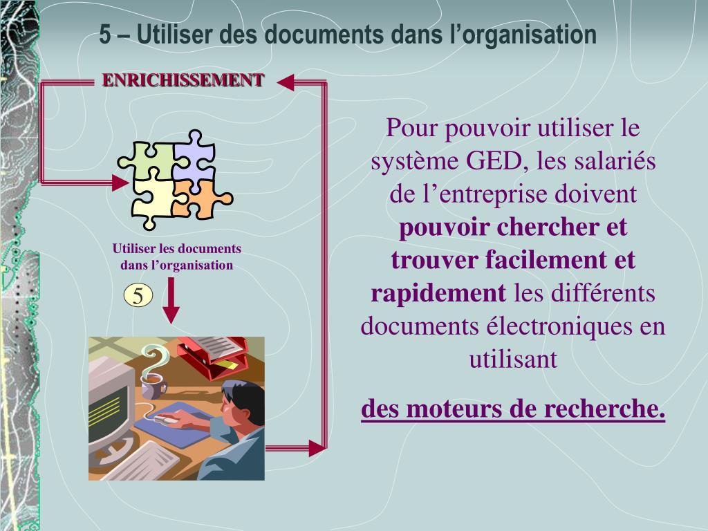 Utiliser les documents dans l'organisation