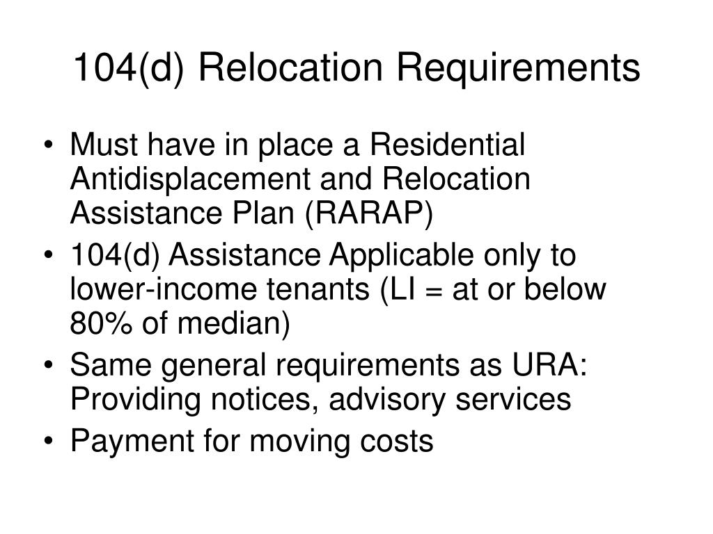 104(d) Relocation Requirements