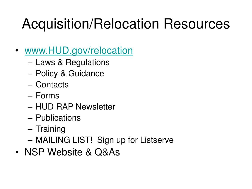 Acquisition/Relocation Resources