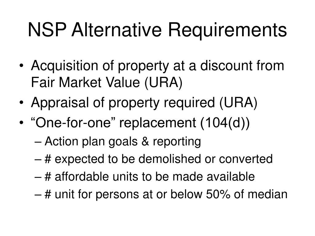 NSP Alternative Requirements