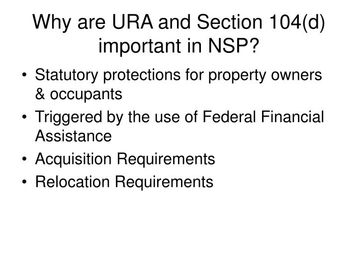 Why are ura and section 104 d important in nsp