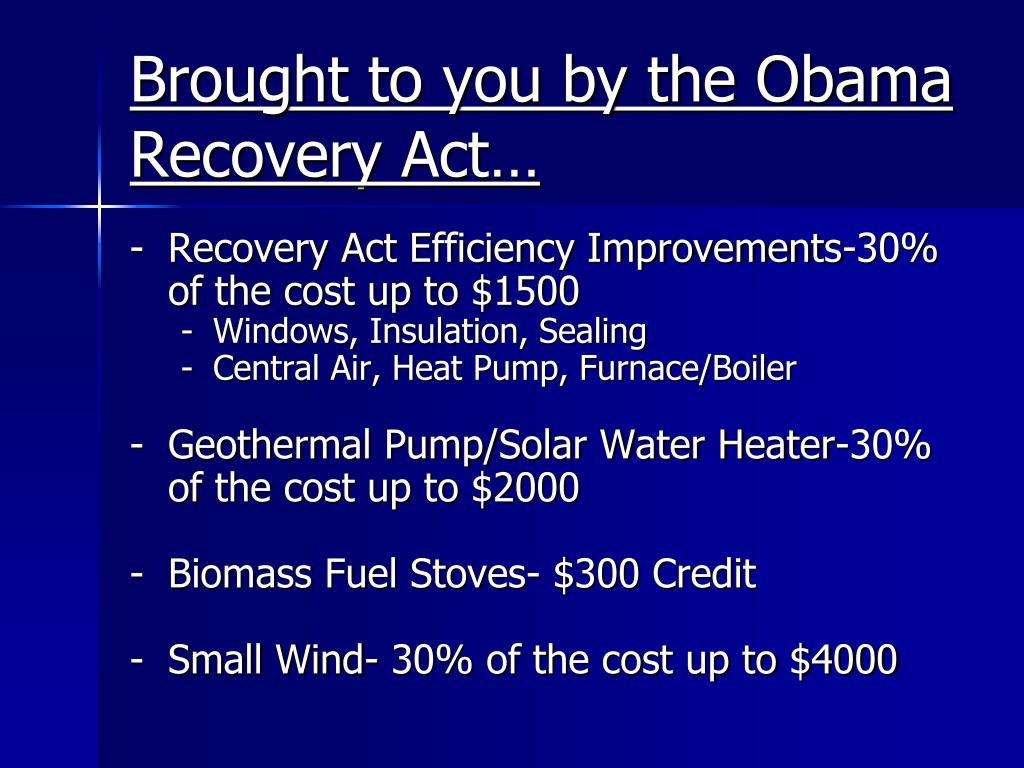 Brought to you by the Obama Recovery Act…