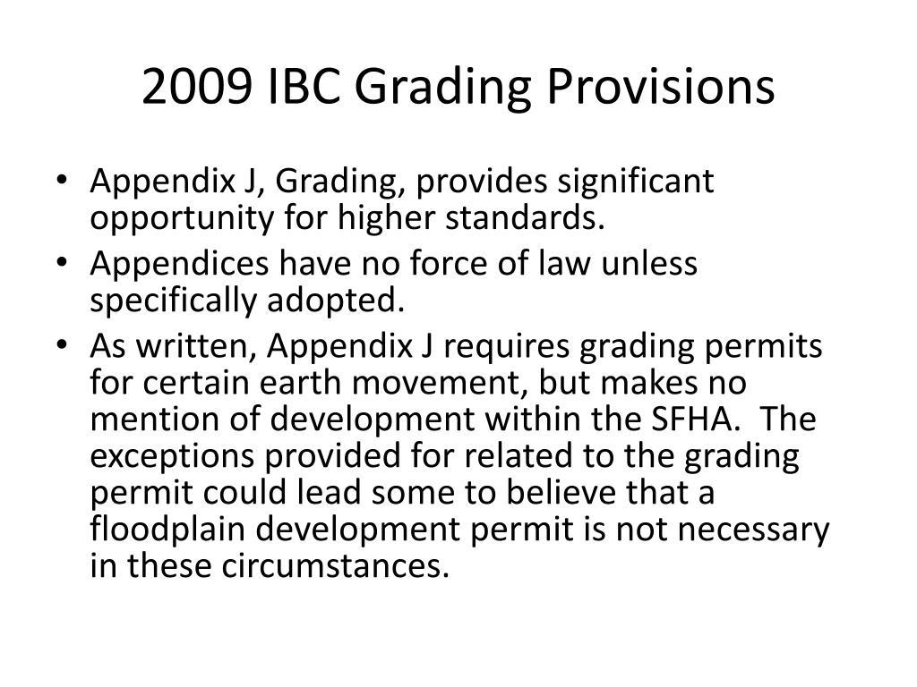 2009 IBC Grading Provisions