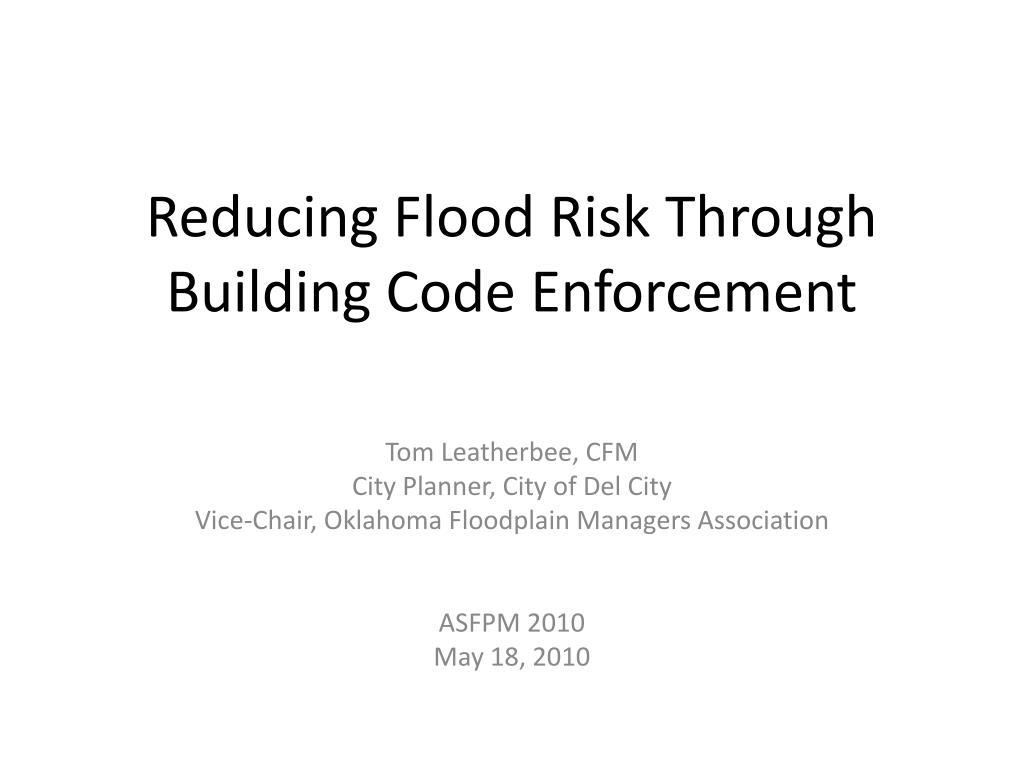 Reducing Flood Risk Through Building Code Enforcement