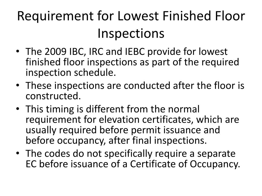 Requirement for Lowest Finished Floor Inspections