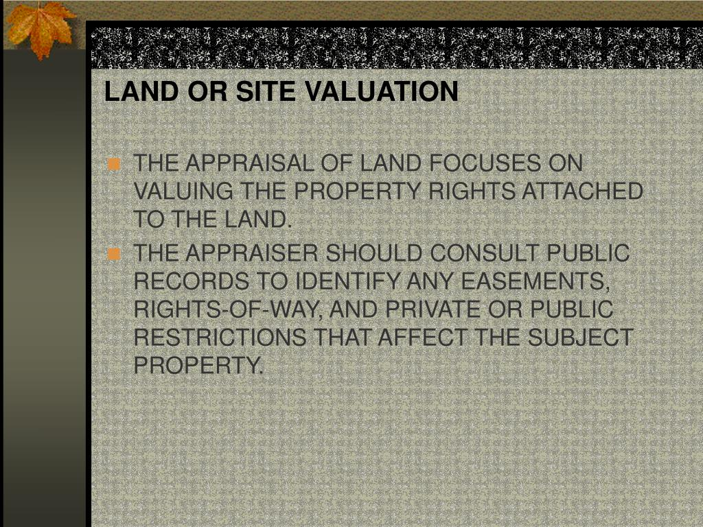 LAND OR SITE VALUATION