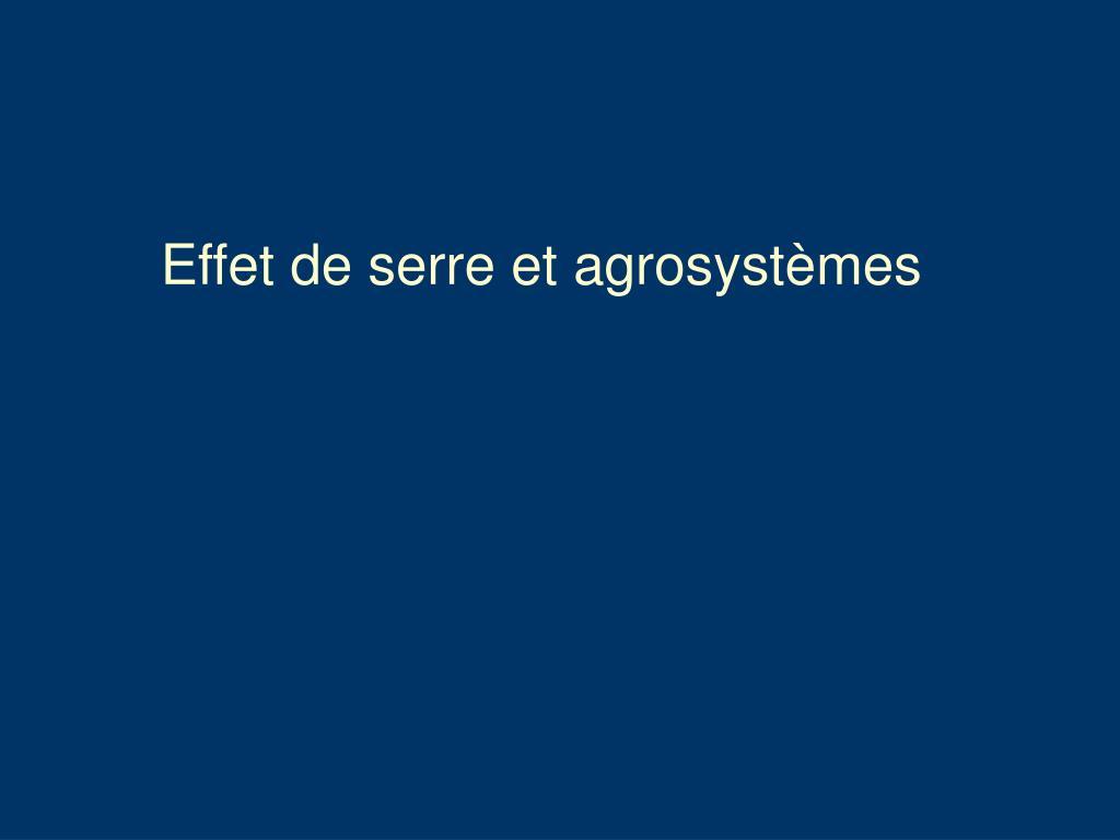 Effet de serre et agrosystèmes