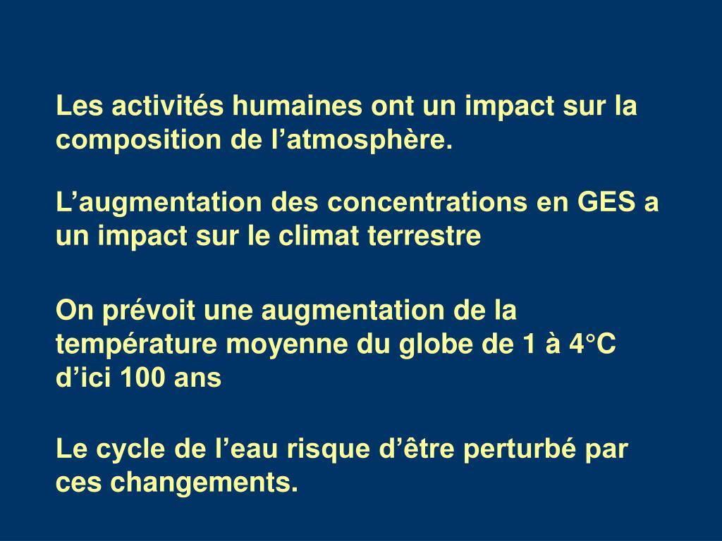 Les activités humaines ont un impact sur la composition de l'atmosphère.