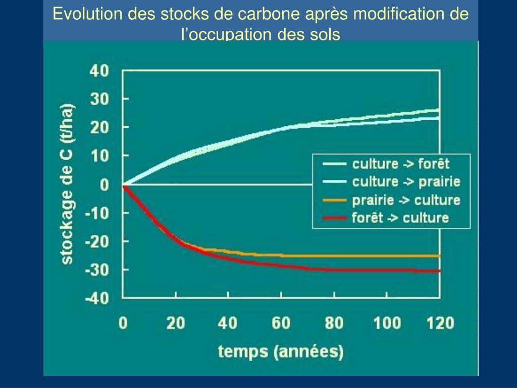 Evolution des stocks de carbone après modification de l'occupation des sols
