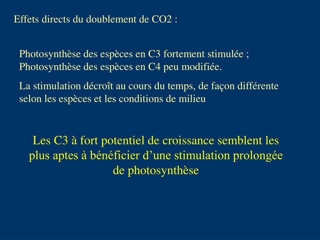Effets directs du doublement de CO2 :