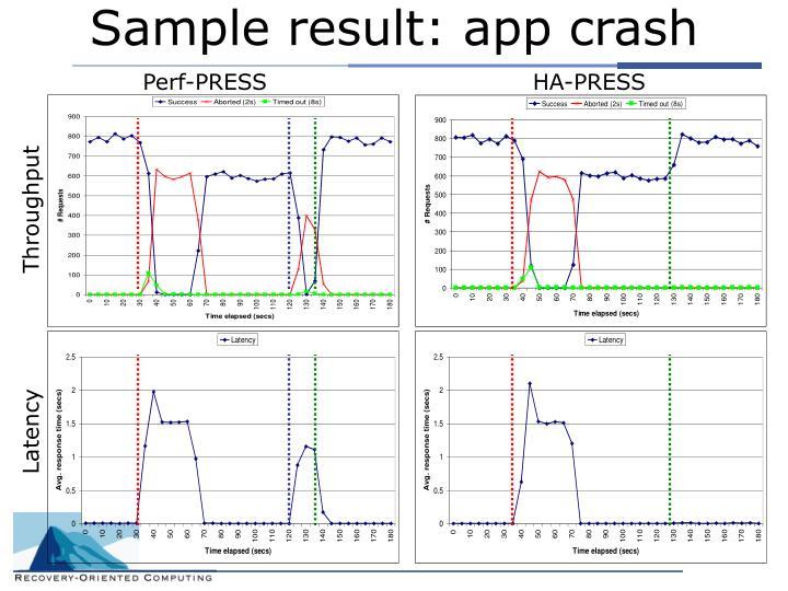 Sample result: app crash
