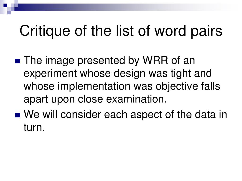 Critique of the list of word pairs
