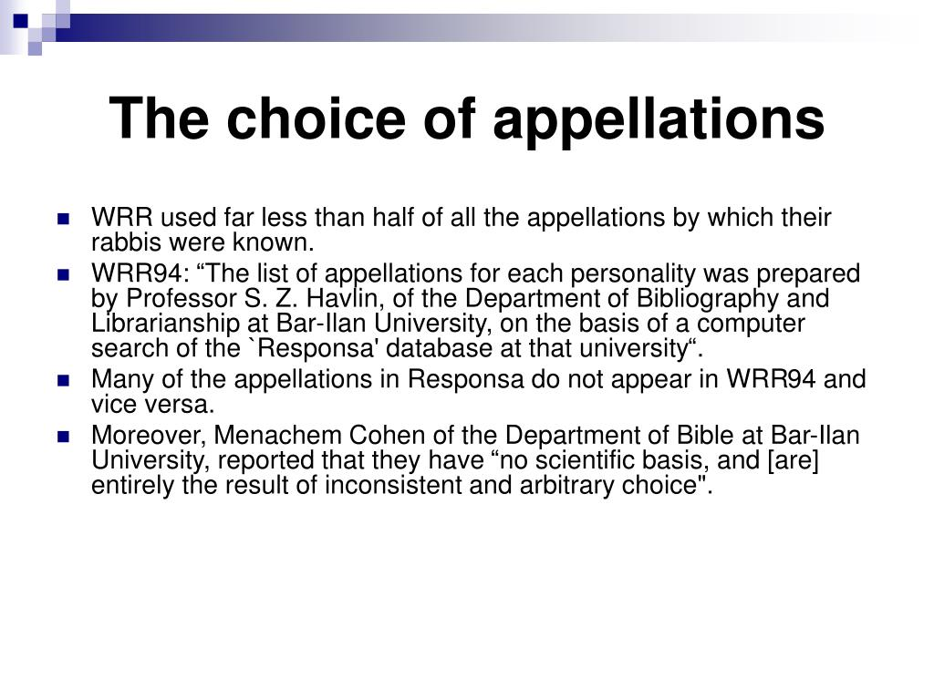 The choice of appellations