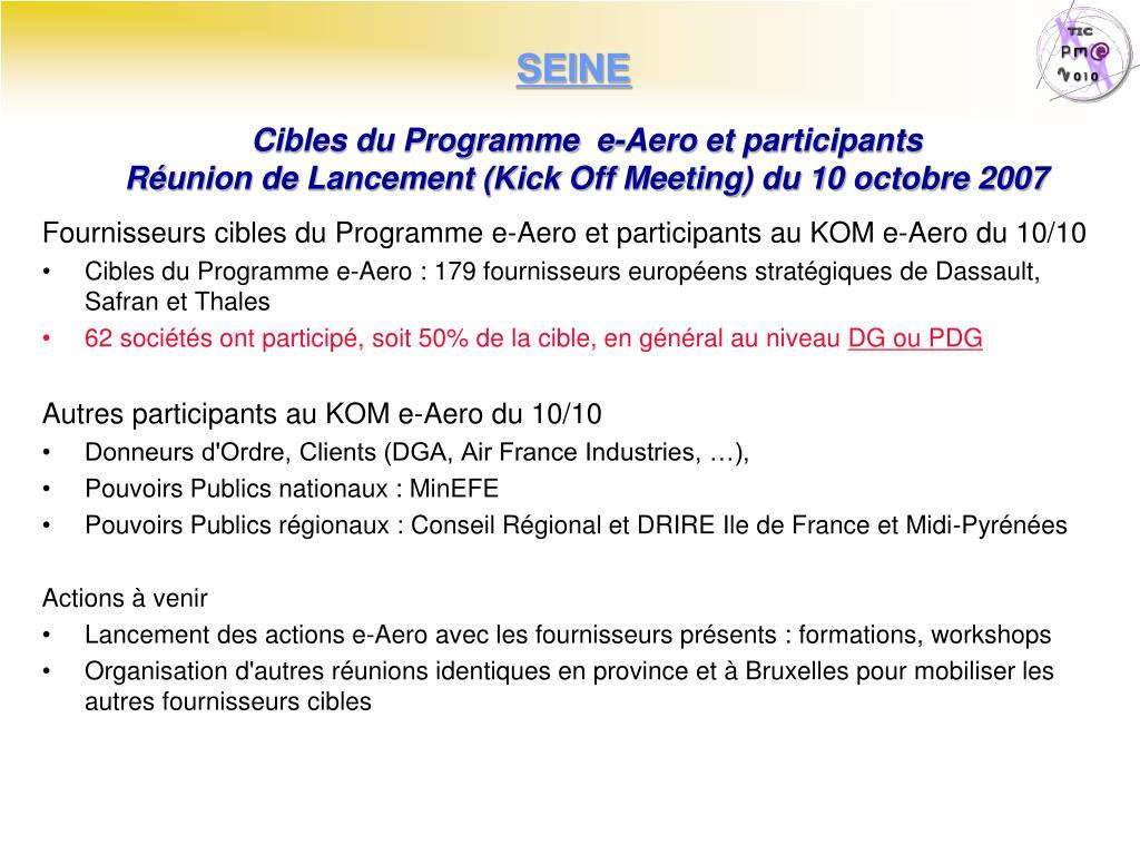 Cibles du Programme  e-Aero et participants