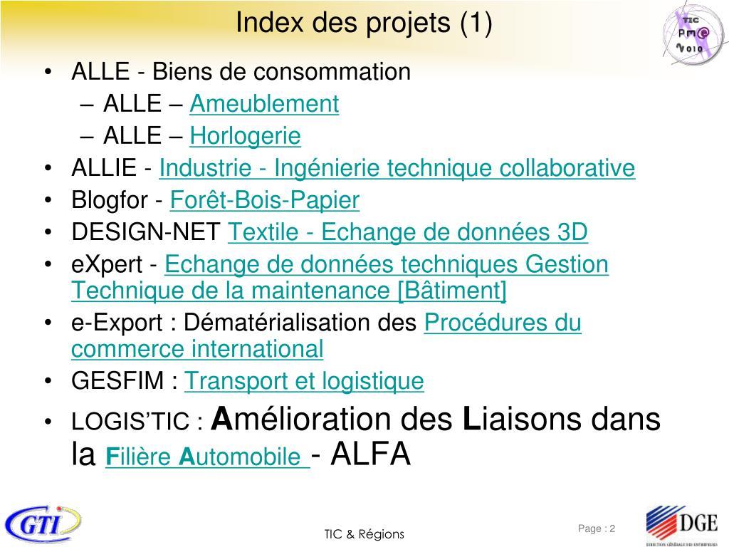 Index des projets (1)