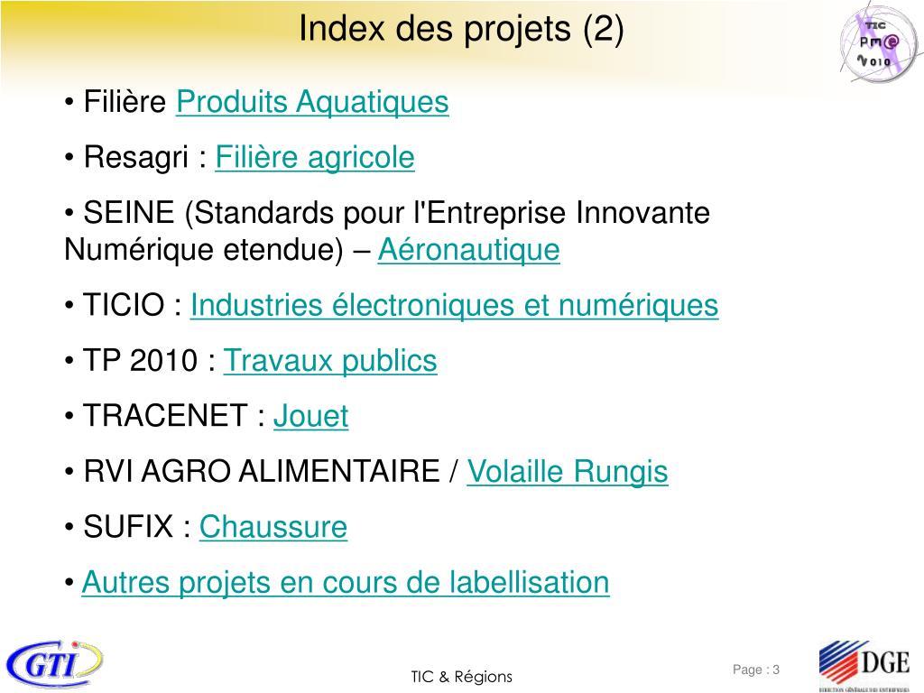 Index des projets (2)