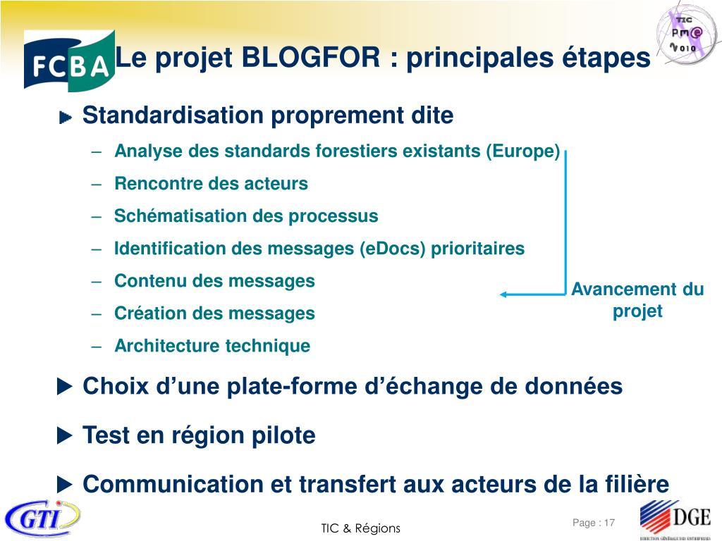 Le projet BLOGFOR : principales étapes