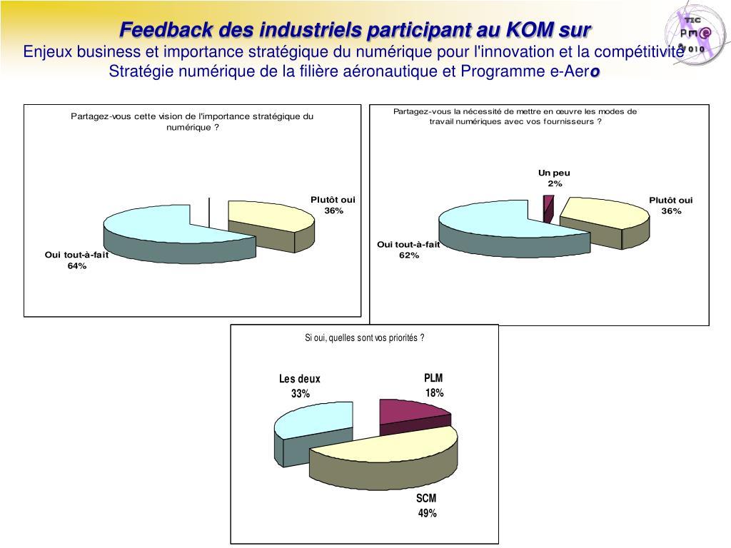 Feedback des industriels participant au KOM sur