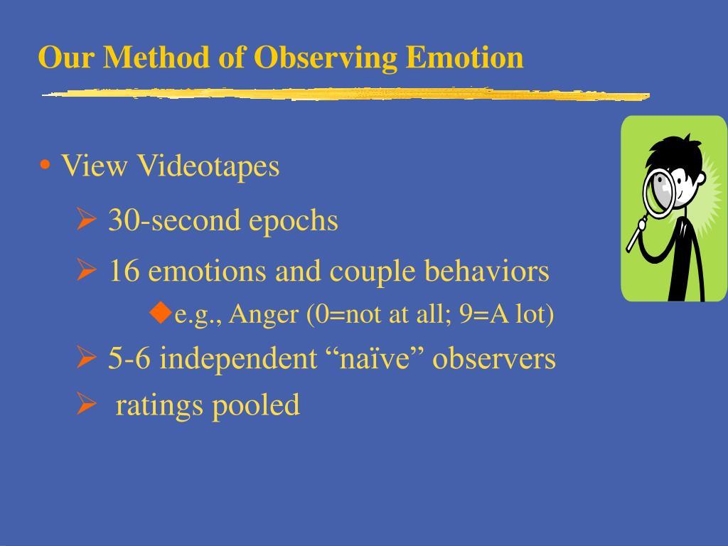 Our Method of Observing Emotion