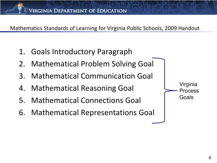 Mathematics Standards of Learning for Virginia Public Schools, 2009 Handout