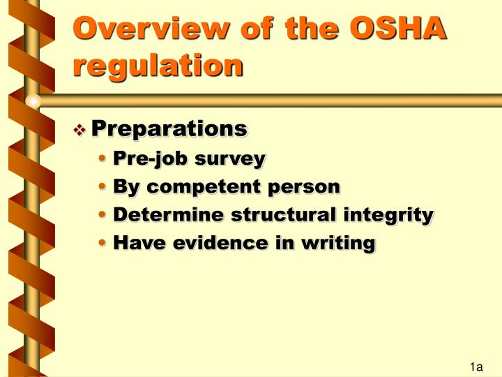 Overview of the osha regulation