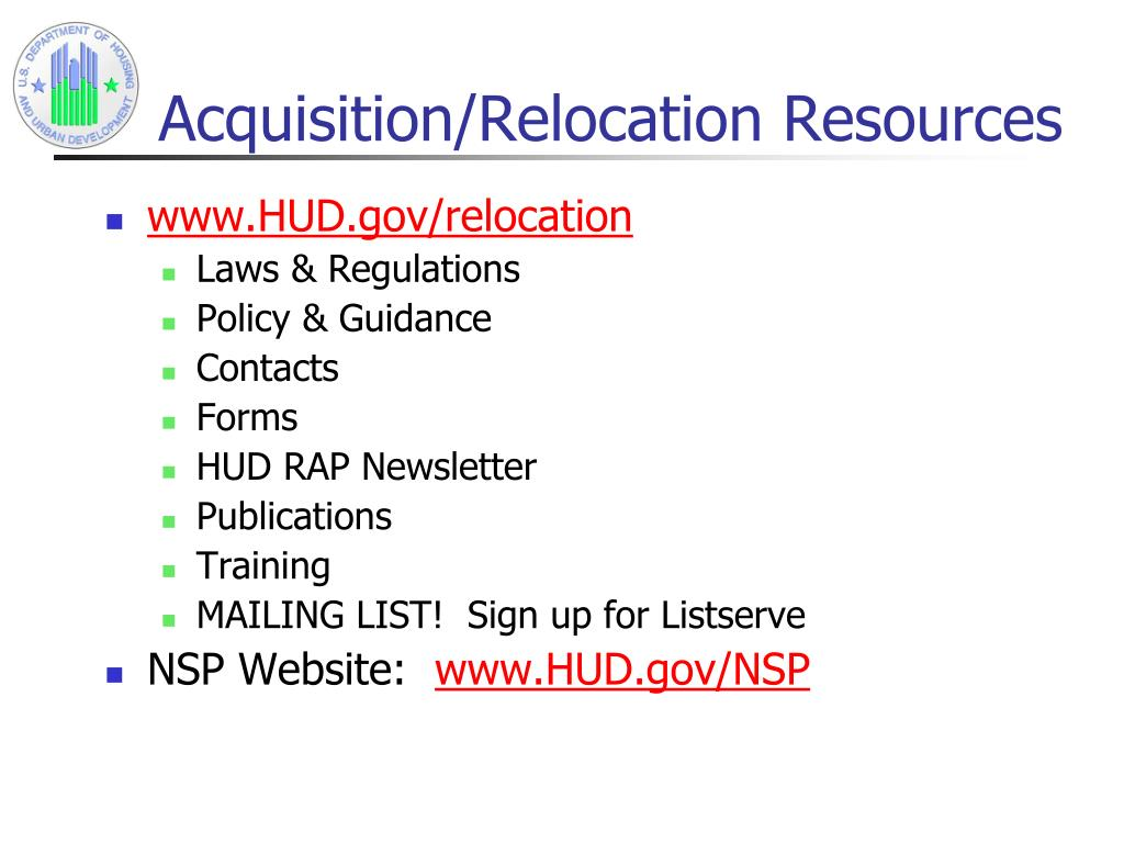 Acquisition/Relocation Resources