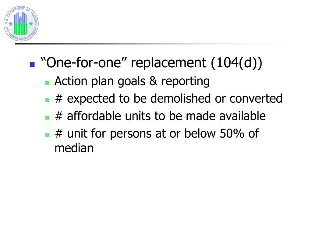 """""""One-for-one"""" replacement (104(d))"""